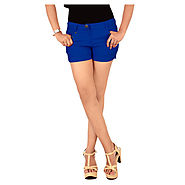 Buy Haltung Blue Cotton Lycra Shorts @ Price Rs.325 Online