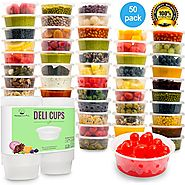 Plastic Food Storage Containers with lids - Restaurant Deli Cups / Foodsavers for Party Supplies, Baby & Portion Cont...