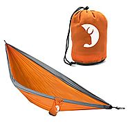 Compact, durable, single-person parachute nylon camping hammock by Tribe Provisions with no-hassle warranty