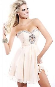 Champagne Beads Sherri Hill 2944 Strapless Cheap Short A-Line Chiffon Prom Dress