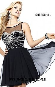 Cheap Black/Silver Bodice Sherri Hill 11034 Beads Short Layered Cocktail Dresses