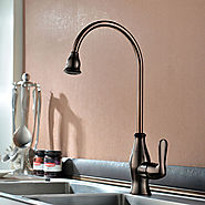 Modern Oil-rubbed Bronze One Hole Single Handle Kitchen Faucet At FaucetsDeal.com