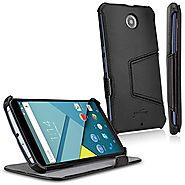 Nexus 6 Case, BoxWave® [Leather Book Jacket] Protective Synthetic Leather Folding Folio Cover for Google Nexus 6 - Ne...