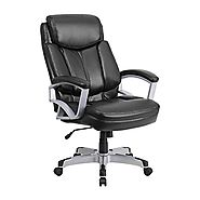 Offex OF-GO-1850-1-LEA-GG Hercules Series Big and Tall Black Leather Executive Office Chair, 500 lb.