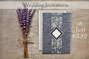 GRAYISH BLUE HANDMADE COTTON SCREEN PRINTED WEDDING CARDS