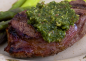 Chimichurri Steak Skewer with Green Sauce