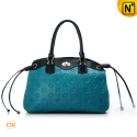 Women Blue Leather Handbags CW276857 - cwmalls.com