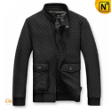 Mens Black Quilted Leather Jacket CW874291 - cwmalls.com