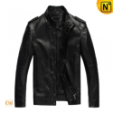 Black Leather Motorcycle Jacket Men CW809041 - cwmalls.com