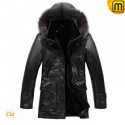 Hooded Fur Leather Coat CW819418 - jackets.cwmalls.com