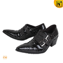Black Italian Leather Dress Shoes for Men CW760109