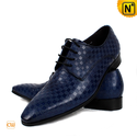Blue Leather Oxford Dress Shoes for Men CW762082