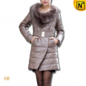 Women Leather Down Coat Fur Collar CW610002 - cwmalls.com