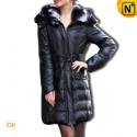 Women Black Leather Down Coat CW610003 - cwmalls.com