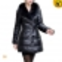 Black Leather Down Coat Women CW610004 - cwmalls.com
