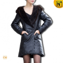 Designer Women Leather Down Coat CW610005 - cwmalls.com