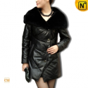 Designer Black Leather Down Coat CW610006 - cwmalls.com