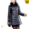 Designer Black Leather Down Coat CW610013 - cwmalls.com