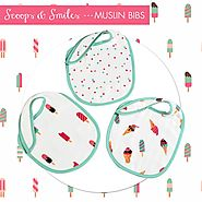 Buy Scoops & Smiles Muslin Bibs online at Little West Street