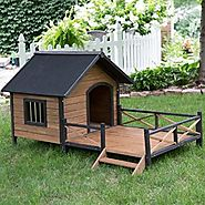 Large Dog House Lodge with Porch Deck Kennels Crates Solid Fir Wood Spacious Deck for Sunny Nap Insulated Keep Rain O...