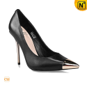 Black Leather Heels Pumps Shoes CW235606 - cwmalls.com