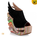 Designer Wood Heel Wedges Black CW236003 - cwmalls.com