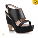 Women Black Leather Platform Sandals CW236102 - cwmalls.com