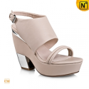 Women Leather Sandals Shoes Beige CW236103 - cwmalls.com