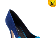 Stiletto Leather High Heels Blue CW261001 - cwmalls.com