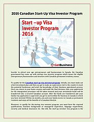 Get Business - 2016 Canadian Start-Up Visa Investor Program