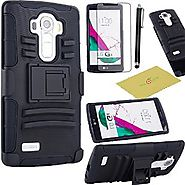 Fulland Prime Series Dual Layer Holster Case with Kickstand Locking Belt Stylus and Screen Protector - Black for LG G4