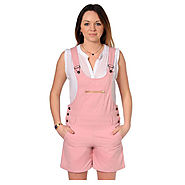 Buy Womens Pink Dungaree Shorts Summer @ Price £19.99