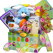 Art of Appreciation Gift Baskets Easter Bunny Chocolate and Candy Care Package Box, Blue or Purple Bunny Rabbit