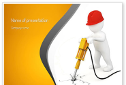 Jackhammer Worker PowerPoint Template