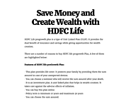 Save Money and Create Wealth with HDFC Life