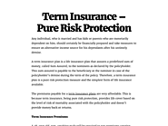 Term Insurance – Pure Risk Protection