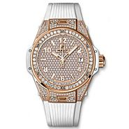 Luxury Replica Hublot Big Bang One Click King Gold White Full Pave 39mm Watch 465.OE.9010.RW.1604 For Sale
