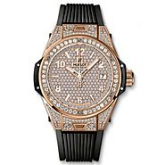 Luxury Replica Hublot Big Bang One Click King Gold Full Pave 39mm Watch 465.OX.9010.RX.1604 For Sale