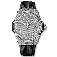 Luxury Replica Hublot Big Bang One Click Steel Full Pave 39mm Watch 465.SX.9010.RX.1604 For Sale