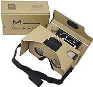 Google Cardboard Kit V2 by MINKANAK Big Lens 3D Virtual Reality Cardboard Glasses with Head Strap Nose Pad and NFC,Co...