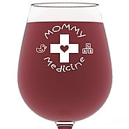 Mommy Medicine Funny Wine Glass 13 oz - Best Mother's Day Gifts For Mom - Unique Birthday Gift For Her from Son or Da...
