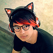 Cat Ear Headphones with red led lights