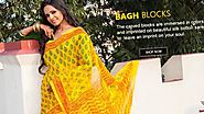 Designer Bagh Print Sarees in Cotton Silk