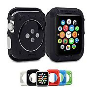 Apple Watch Case, GMYLE Rugged Shock Resist Protection Armor Soft Silicone Rubber Case for Apple Watch 42mm - Matte B...