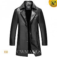 CWMALLS Long Black Leather Coat CW816026