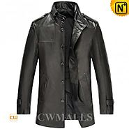 CWMALLS Mens Leather Hunting Coat CW816020