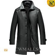 CWMALLS® London Black Leather Trench Coat CW808025[Multifunctional Patented Jacket, Custom Made]