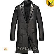 Father's Day Gift | CWMALLS® San Jose Embroidered Leather Overcoat CW808031