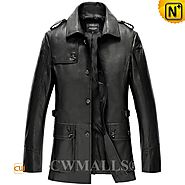CWMALLS® Garland Custom Black Leather Overcoat CW808023[Custom Made Gift]