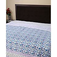 White Floral Cotton Hand Block Printed Dohar for luxury Bedroom